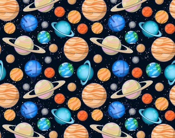 Space Fabric - Planetary Space By Mzwonko - Planetary Space Nursery Decor Cotton Fabric By The Yard With Spoonflower