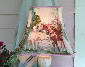 "Horse Lamp Shade, Rectangle Lampshade Vintage Fabric Shade, Horse Lover's Decor, 7""top x 12"" bottom x 9.5""high,  Red, Brown, Green and Cream"