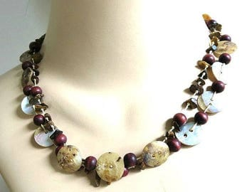 Mixed Mother of Pearl Buttons & Stone and Wood Beads Necklace Vintage