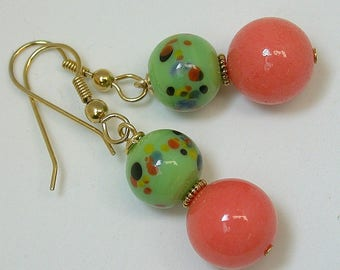 Vintage Japanese Millefiori Lime Green Bead Dangle Drop Earrings, Coral Chalcedony, Gold Ear Wires