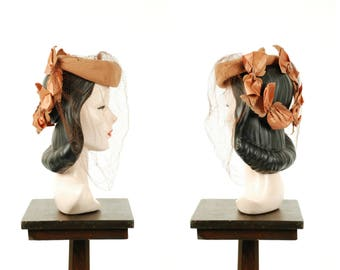 Vintage 1940s Tilt Hat - Warm Tan Wool Felt Topper with Satin Bows, Studded Leaves and Birdcage Veil
