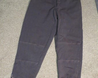 "Wool ski pants / 1940s / gray / belt loops / suspender buttons / leather lace ankles / Size 30"" waist / vintage ski pants / unisex / COSPLAY"