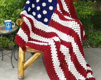 All American Afghan - American Flag Throw, murican, merican, Red White & Blue, 4th of July, USA Afghan, Crocheted Throw, Made in America