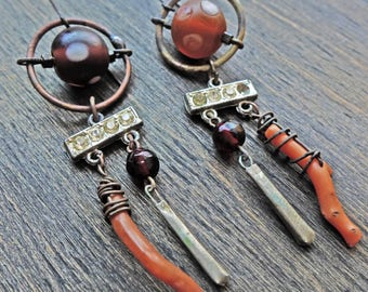 "Coral, rhinestones, vintage glass, handmade earrings by fancifuldevices- ""Equilibria"""