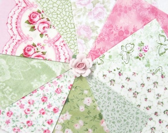 """200~4"""" Squares~Shabby Sweet Pinks and Greens~Many Retired Favourites~Fabric~#4"""