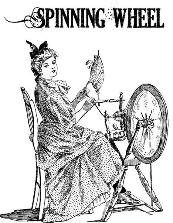 "spinning wheel thread png clip art digital image download graphics wall art printables vintage victorian women housework 7.5"" x 9.7"""