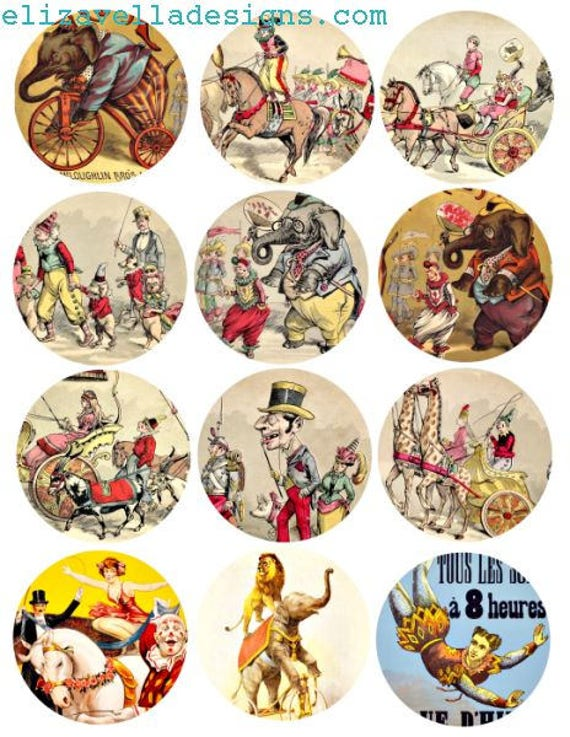 circus clowns elephants animals clip art digital download collage sheet 2.6 inch circles printable graphics images