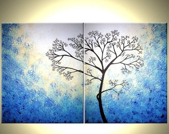 Blue White Tree, Original Tree Painting, Abstract Contemporary Landscape, Fine Art Painting - 30x48 Lafferty, 22% Off