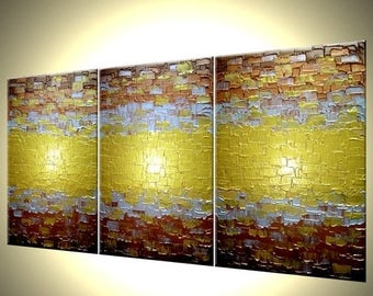 Abstract Gold Painting, Textured Metallic Art, Large Copper Paintings, Original Bronze Reflective Painting, Fine Wall Art by Lafferty, 72X30