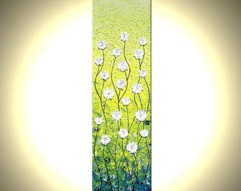 ORIGINAL Abstract White Blossom FLOWERS Impasto Yellow Landscape Art Textured Palette Knife Painting Lafferty 48x12