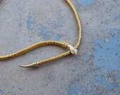 vintage Metal Snake Belt - Mesh Snake Belt or Necklace 1970s 70s Gold tone Metal Belt Sz S M L