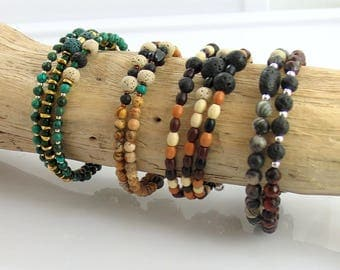 Earthy Beads and Lava Stone Bracelets for Essential Oils, Memory Wire Beaded Bracelets
