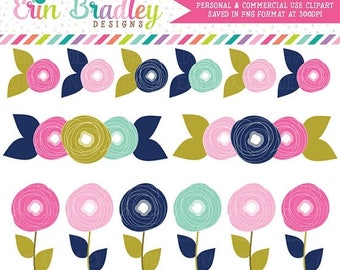 80% OFF SALE Instant Download Clipart Flower Doodles Pink and Blue Floral Clip Art Graphics Personal & Commercial Use