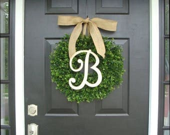 SUMMER WREATH SALE Monogram Boxwood Wreath, Boxwood Monogram Wreath with Burlap Bow, Housewarming Gift, Wedding Wreath 20 Inch