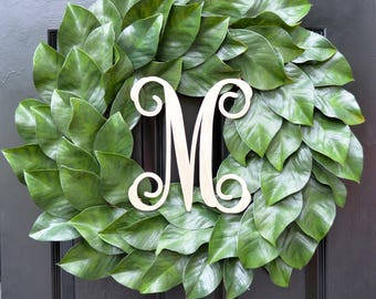 Magnolia Wreath, Artificial Magnolia Wreath, Magnolia Leaves Door Wreath, Fixer Upper Southern Decor Year Round Wreath Southern Gift for Her