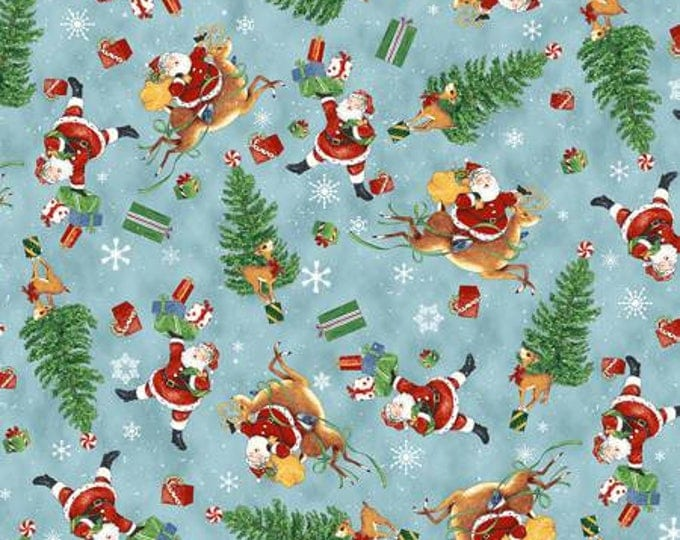 Christmas Fabric, Retro Santa Blue Multi Tossed Santa Cotton Fabric by Cloth Works 44-45 Inches Wide