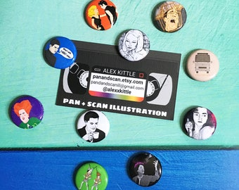 Illustrated Movie/TV Character Buttons (Assorted)