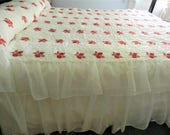 RESERVED SALE Red Rose Bedspread, White Nylon Ruffle, Ruffle Bedspread, Red Bedspread, Full Bedspread