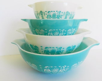Pyrex Turquoise Bowl Set,  Butterprint Amish Bowl Set, Pyrex Aqua Amish Bowls, Turquoise Pyrex Bowl Set, Pyrex Butterprint Bowls