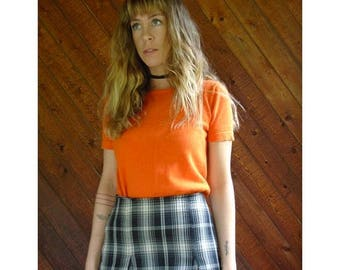 20% off SUMMER SALE. . . Bright Orange Knit s/s Sweater Top - Vintage 90s - XS/S