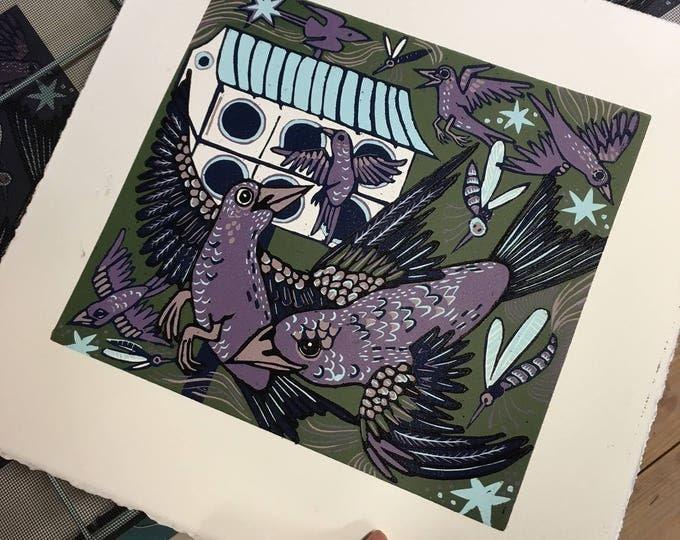 Purple Martin, birdhouse, green background, woodcut print, block print, original art by Jenny Pope
