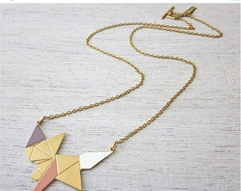 On Sale 40% off, Origami Fox Necklace in Gold, woodland enamel pendant