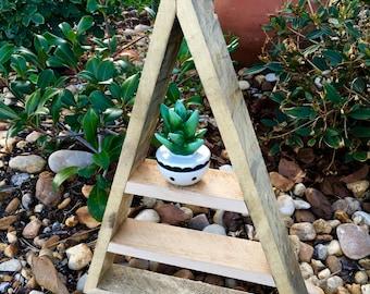 Reclaimed Lumber Triangle Shelf, Triangle Shelf, Tall Triangle Shelf, Tall Pyramid Shelf, Crystal Display Shelf, Meditation Shelf