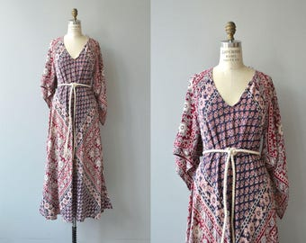 Mihrimah block print caftan | vintage 1970s indian cotton maxi dress | 70s bohemian cotton dress