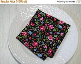 SALE Cloth Napkins Pink Blue Floral on Black Set of 6