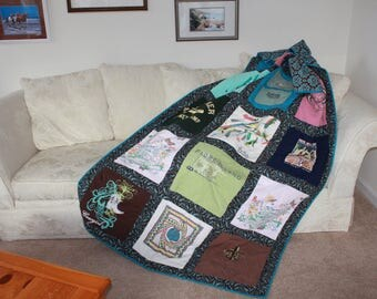 Tshirt quilt made with 18 of your own tee shirts into an oversized lap quilt