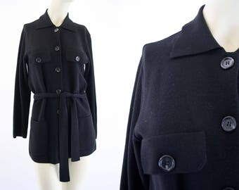 Vintage Black Wool Country Shop Brand Made in Italy Hip Length Long Sleeve Button Down Belted Woman's Classic Retro Cardigan