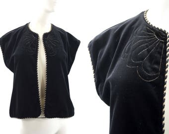 Act III Made in USA Black Velour with Gold Accent and Embroidery Woman's 70's Retro Plush Vest