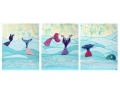 Children's Wall Art, Mermaid Painting on Large Canvas Triptych, Textured Mermaid Tails and Aqua Ocean Waves - 50x20