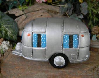 Camper  Fairy  House Ceramic Airstream  Silver Rv      Lighted Nightlight fantasy fairy room decor miniature trailer