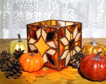 Glass Candleholder Stained Glass Candleholder in Brown, Burgundy, and Yellow Candle Holder Brown Tones Glass Candleholder Stained Glass Box