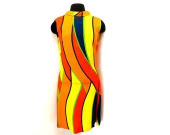 Vintage 60s Summer Woven Linen Sheath Dress Tall Twiggy Mod Multicolor Orange Yellow Red Geometric Color Block XS