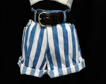 Vintage 90s Paper Bag Shorts Baggy Denim Blue White Wide Stripes High Waist Cuffs Coachella Style M Medium L Large 8 10