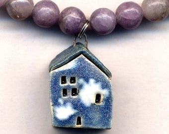 Blue House Necklace, Sky Inn Necklace, Porcelain Blue Cloud Building Necklace, White Cloud Blue Necklace, Lilac Quartz Necklace