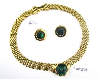 Swarovski Necklace Set Green Crystal S.A.L. Signed