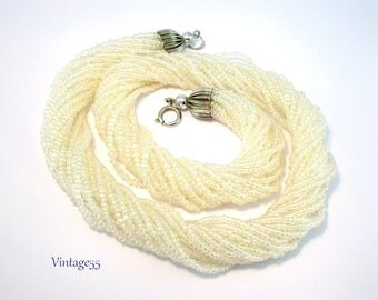 Necklace White Glass Beaded Torsade