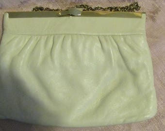 Vintage Harry Levine HL Ivory Vegan Leather Purse Metal Flex Frame Vintage Clutch Off White Convertible Handbag Faux Leather Bag 1960s 60s