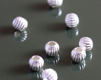 SALE 10% OFF Sterling Silver Beads Corrugated Round 3mm - Select Pack Size