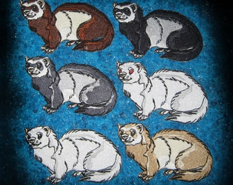 Cute Ferret Ferrets pick your color Iron on or Sew on Patch sable black silver albino white cream