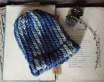 FIRST EDITION Winterland Baby Beanie. Hand Knit Blue Sage and Taupe Baby Cold Weather Hat.