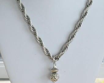 "On sale Pretty Vintage Silver tone Tassel Necklace, 30"""