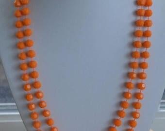 """On sale Pretty Vintage 7mm Orange Plastic Beaded Necklace, 50"""" (U6)"""