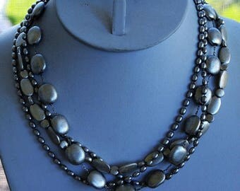 """On sale Brushed Silver tone Beaded, Multi-Strand Necklace, Vintage, 17-1/2"""" (N9)"""