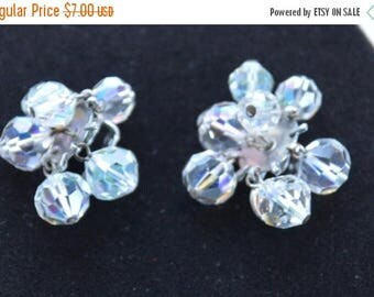 ON SALE Sparkly Aurora Borealis Crystal Clip Earrings, Supplies, Repurpose, Destash, Upcycle (L17)