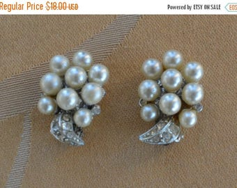ON SALE Pretty Vintage Faux Pearl Cluster,  Rhinestone Clip Earrings, Silver tone (AD11)