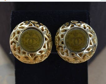 ON SALE CHANEL Inspired Logo Clip Earrings, Gold tone, Vintage (Tb9)